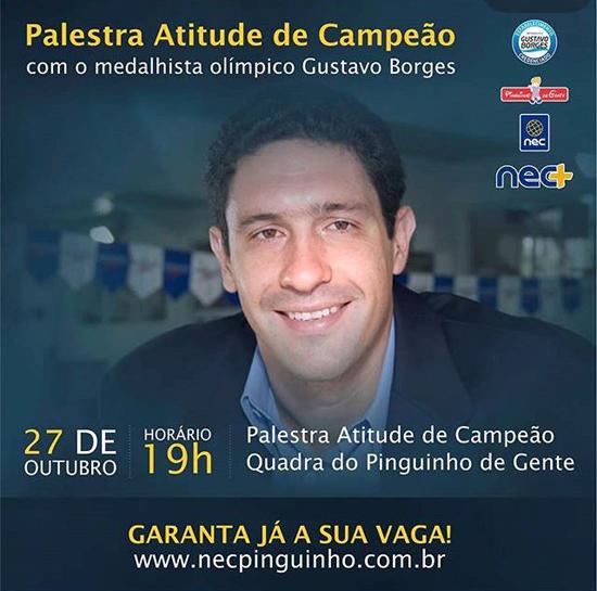 Gustavo Borges ministra palestra motivacional para alunos do Nec/Pinguinho de Gente. Imagem: Reprodução/NEC