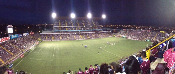 Panorama of the stadium under the lights.