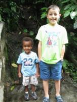 Oliver and David enjoy the jungle