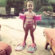 Ready to swim at the Reid's house in Oklahoma.