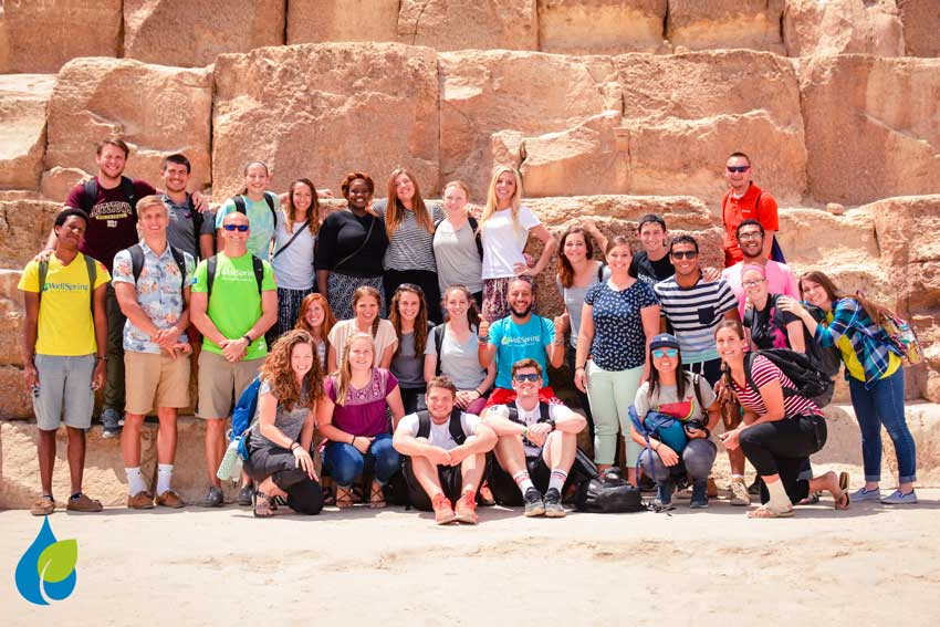 Cairn team of 25 volunteers at WellSpring Egypt sports camps