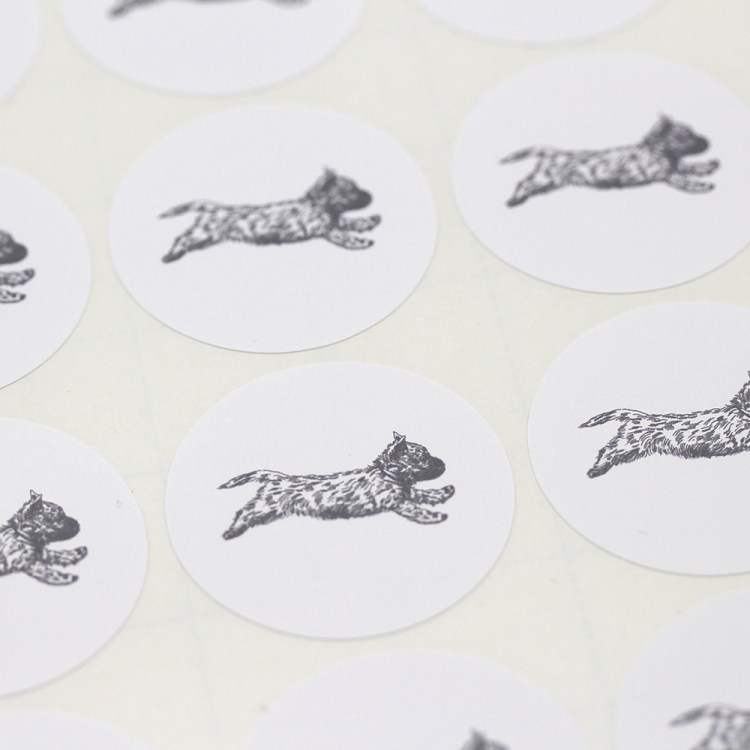 Sheet of stickers with a Cairn Terrier with the Zoomies illustration
