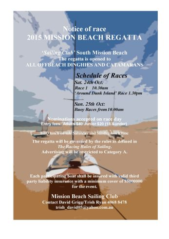 Notice of race Mission Beach 2015