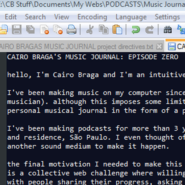Cairo Braga's Music Journal: episode zero