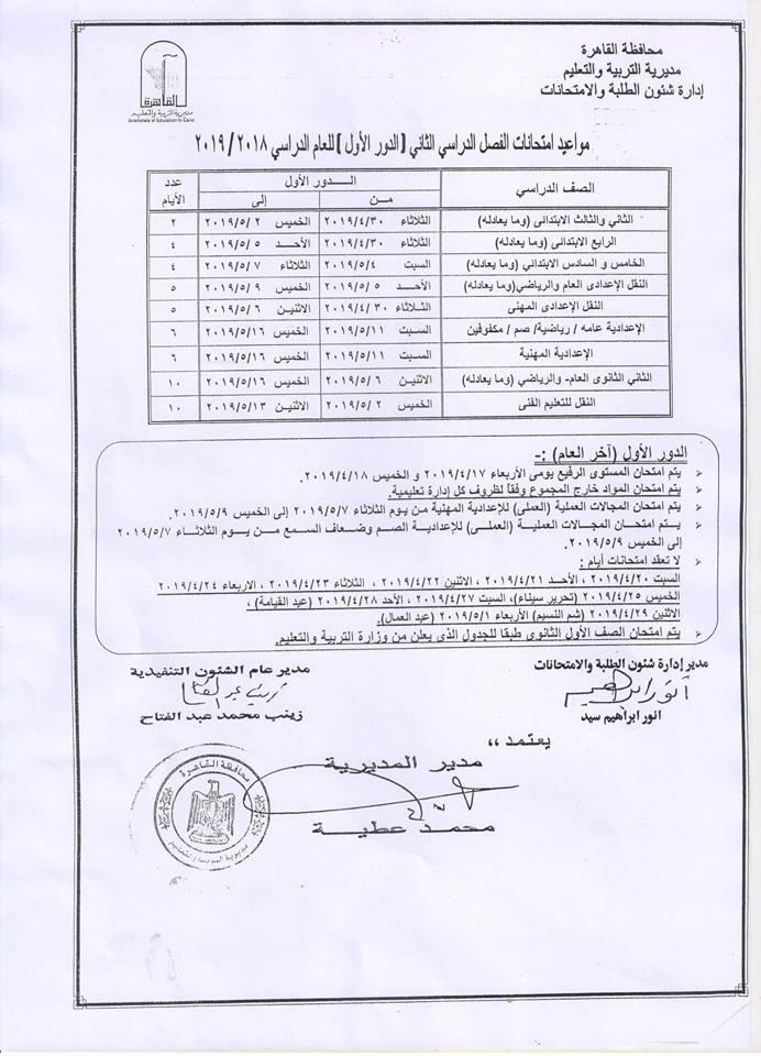 مديرية التربية و التعليم بالقاهرة شروط التقدم لرياض الاطفال 2019