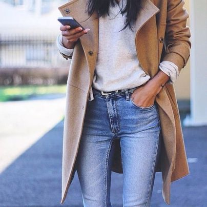 https://lookastic.com/women/looks/camel-coat-grey-v-neck-sweater-blue-skinny-jeans/16513