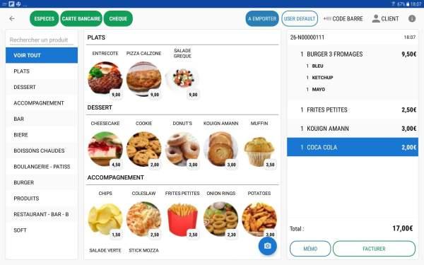 application caisse Commercill ECRAN SAISIE NOTE sur Tablette Android