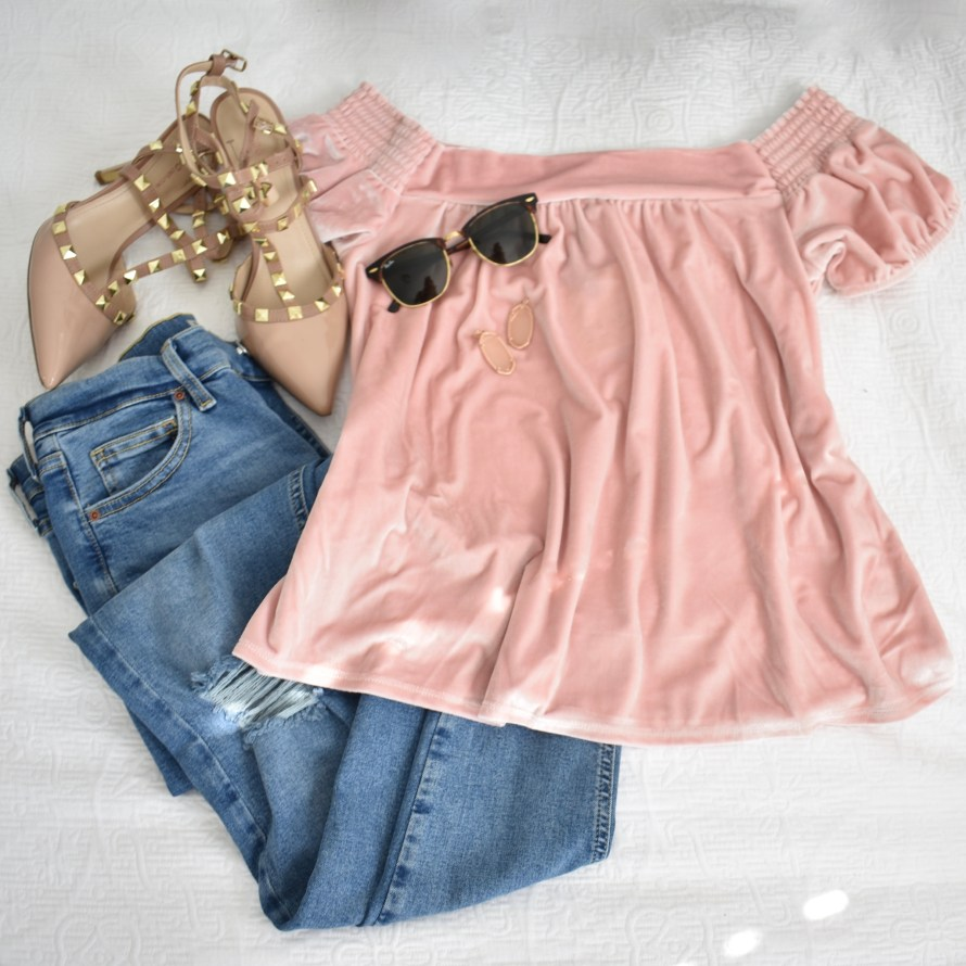 off the shoulder velvet top in pink