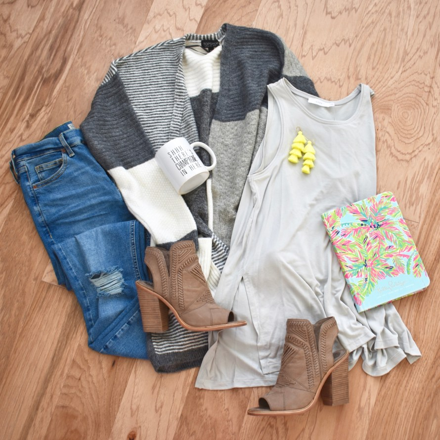topshop cardigan and basic tank