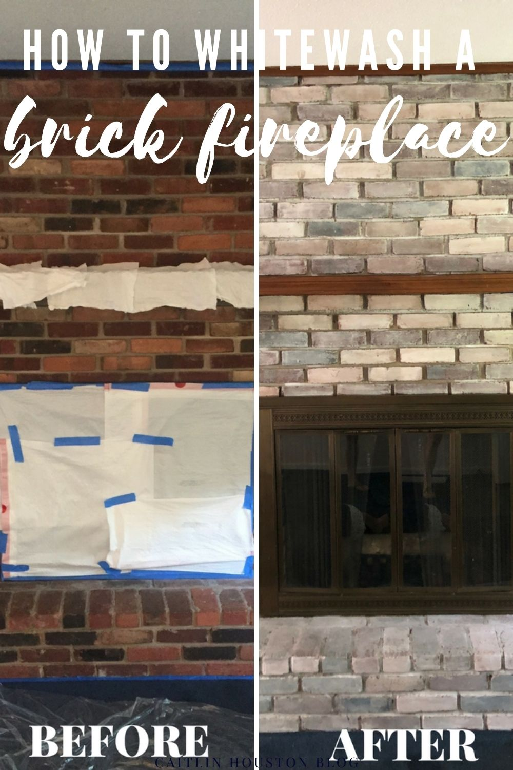 before and after whitewash brick fireplace