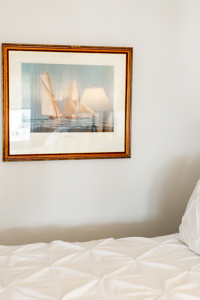 Boat painting in room at Whaler's Inn