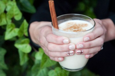 Mexican Eggnog and a Touch of Sparkle Manicure: http://www.stylebistro.com/Nails/articles/zkFh6V3eASg/Sips+Tips+Mexican+Eggnog+Touch+Sparkle+Manicure