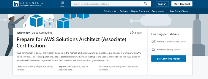 Screenshot of LinkedIn Learning's Prepare for AWS Solutions Architect (Associate) Certification