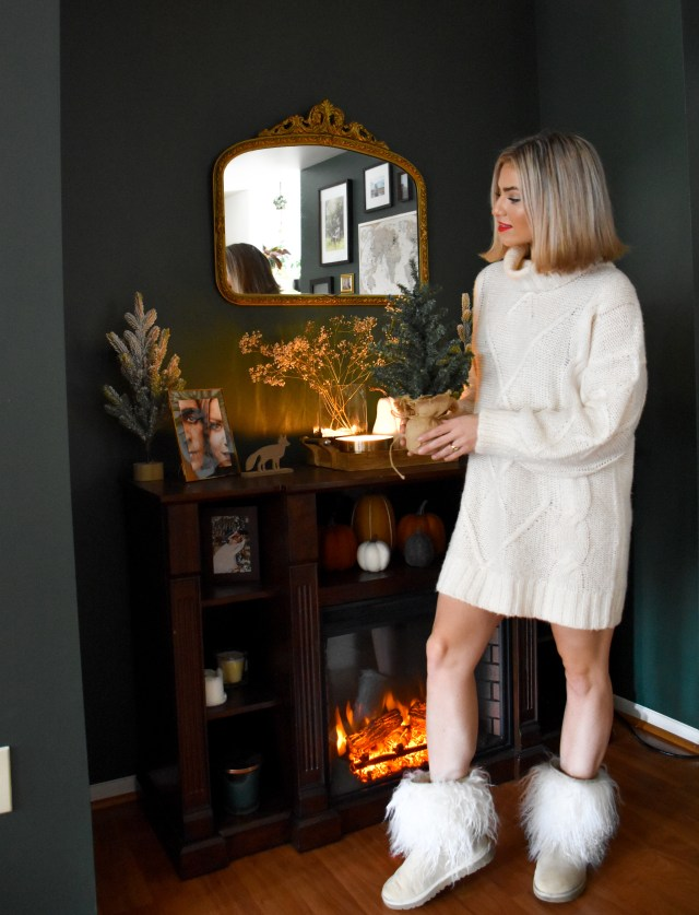 cozy holiday outfit inspiration & holiday home decor