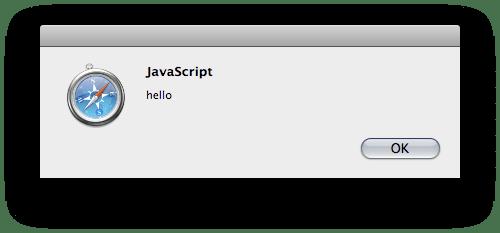 javascript alert showing a Hello message