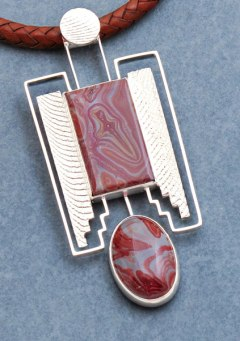 Cuttlebone Cast Sterling with Jasper - Necklace Pendant Detail © Copyright Althea Cajero, CajeroFineArt.com