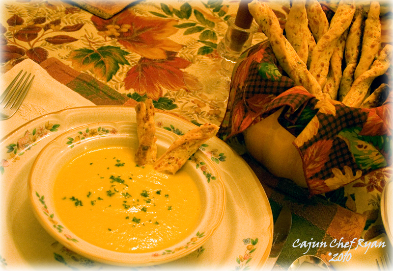 Acorn Squash Soup with Vermont Cheddar Rosemary Bread Sticks