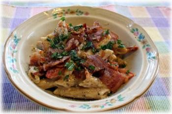 Bacon and Sun-Dried Tomato Alfredo Penne