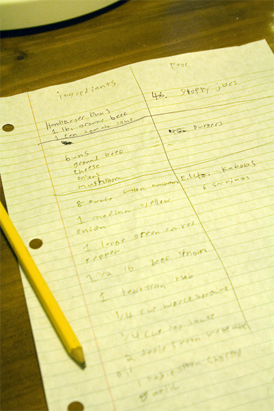 Ben's menu planning and grocery list