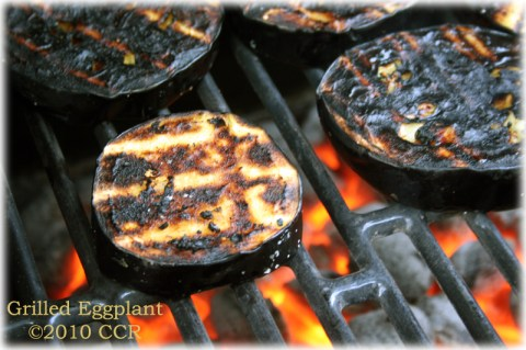 Eggplant on the grill, second side down