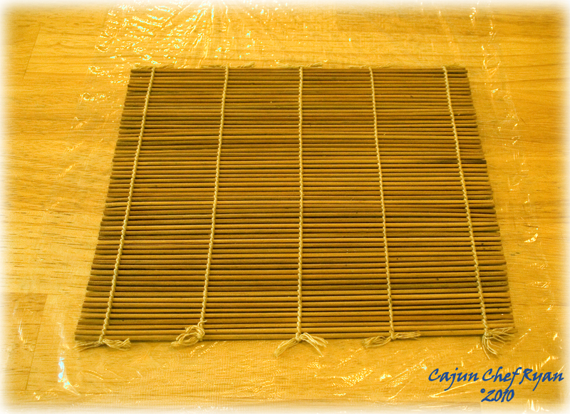 Bamboo mat on plastic wrap