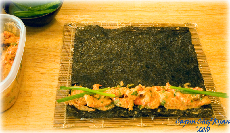 Place your desired fillings along the bottom edge of the nori.