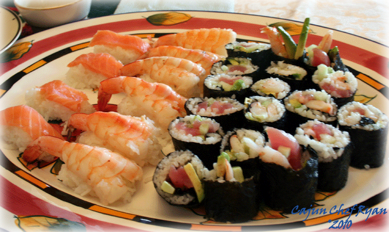 Salmon and Shrimp Nigiri Sushi with rolls