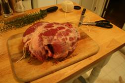 Leg of lamb all tied up