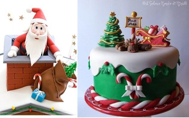 Christmas cake decorating ideas from Baking Obsession.com left and Il Goloso Mondo di Minu right - 10 decorações de bolos para o natal....