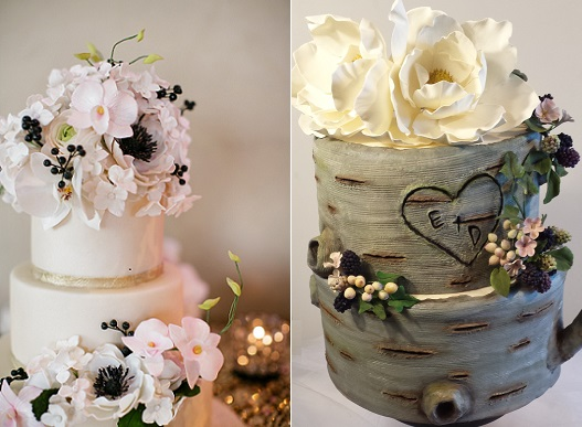 Autumn Berries Fall Wedding Cakes   Cake Geek Magazine fall berries wedding cakes by Bakes   Beloved left  Madeline Cakes right