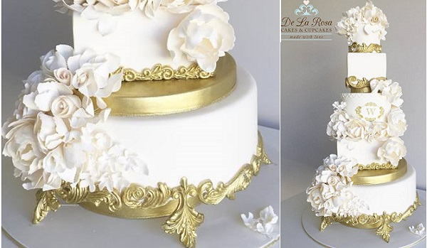 Edible Cake Stands Plus Tutorial     Cake Geek Magazine Edible cake stand with ornate gold detailing by De La Rosa Cupcakes