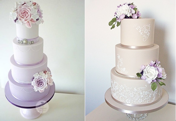 Purple  Lilac   Lavender Wedding Cakes   Cake Geek Magazine Purple ombre wedding cake left and latte wedding cake with lilac blooms and  greenery by The