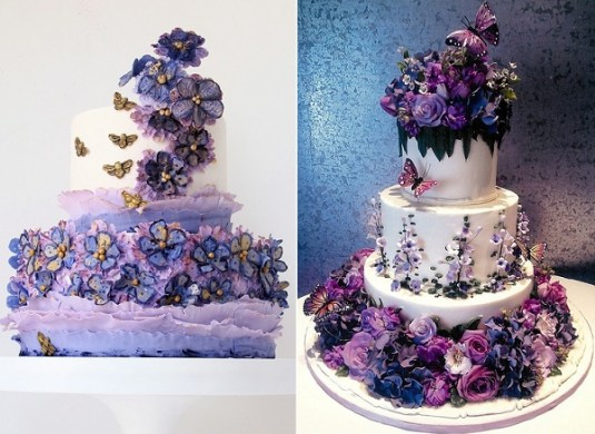 Purple  Lilac   Lavender Wedding Cakes   Cake Geek Magazine Summer garden wedding cake in purple and lavender by Maggie Austin Cake  left  Rosebud Cakes