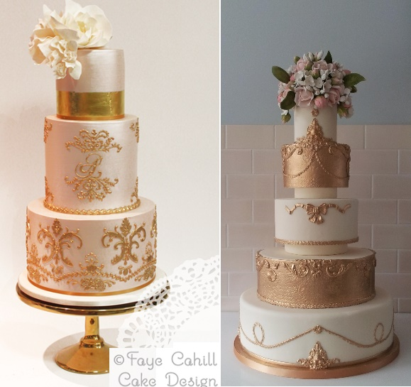 Antique Inspired Wedding Cakes   Cake Geek Magazine Rose gold antique style wedding cakes by Faye Cahill left  The Pastry  Studio right