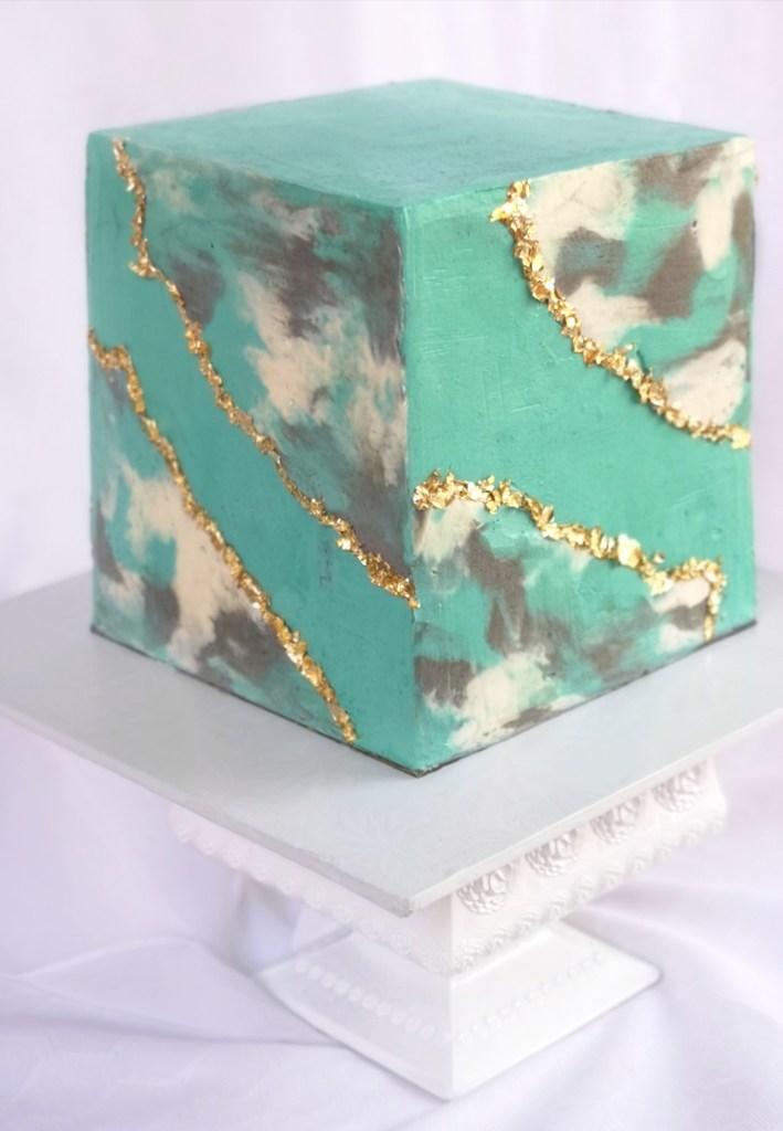 cake cubed, marble, gold leaf, fault line  #cakes and other stuff