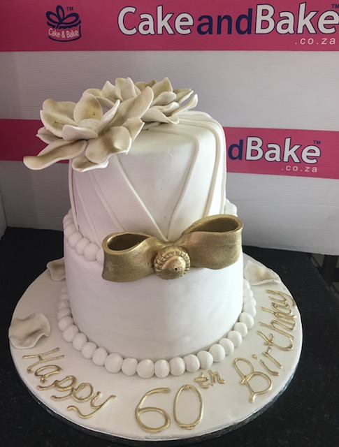 2 Tier White Amp Gold Flowers 60th Birthday Cake And Bake