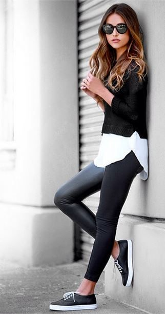 Total look noir & Sneakers - Pinterest favorites