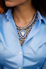 Blue shirt & statement necklace