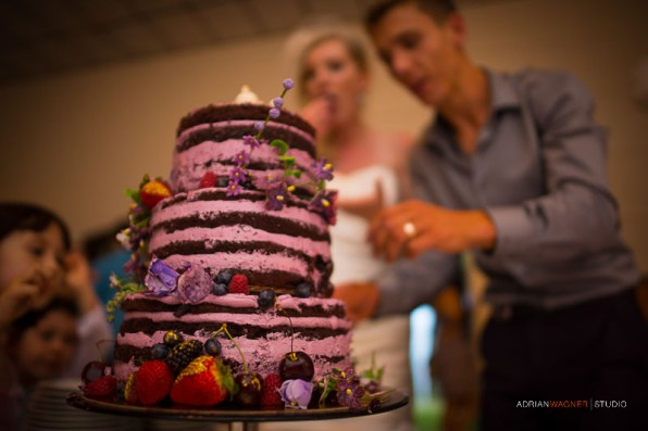 Chocolate huckleberry and lavender naked wedding cake