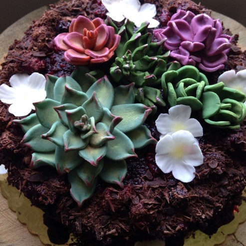Gluten and dairy free chocolate berry cake with fondant blossoms and succulents.