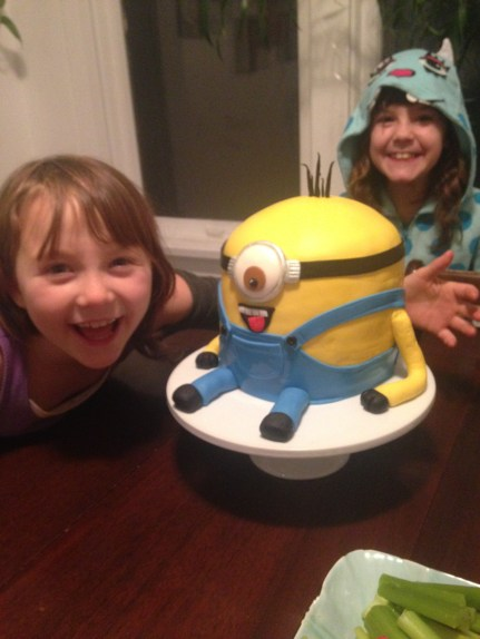 My daughters 8th birthday party. Gluten free vanilla raspberry Minion cake.
