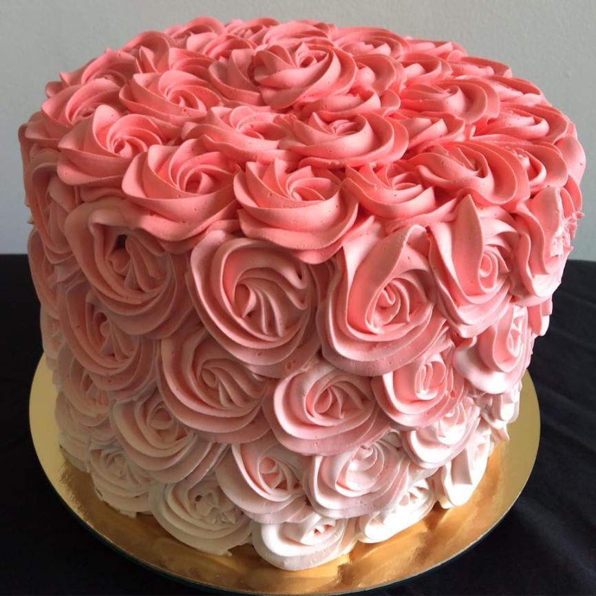 Lemon raspberry cake with buttercream roses