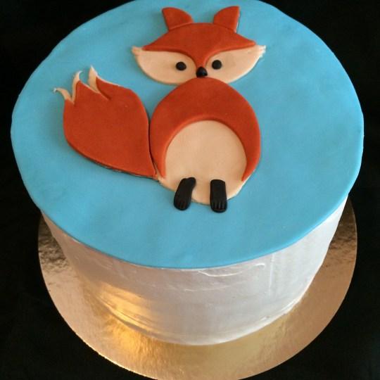 Strawberries N cream cake with a little fondant fox