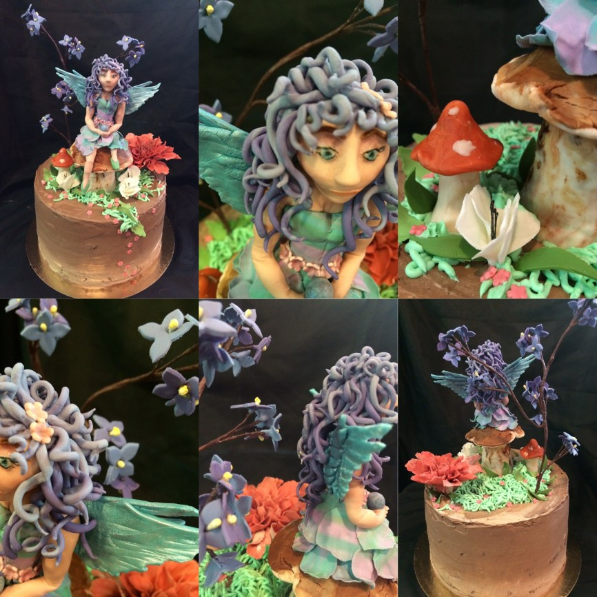 Fairy sitting on a mushroom cake. Chocolate raspberry cake with a fondant fairy sitting on a mushroom and gum past flowers on top