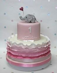 Elephant and balloon birthday cake