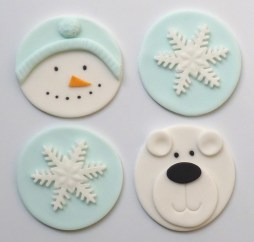 Cupcake toppers - snowman, snowflakes and polar bear