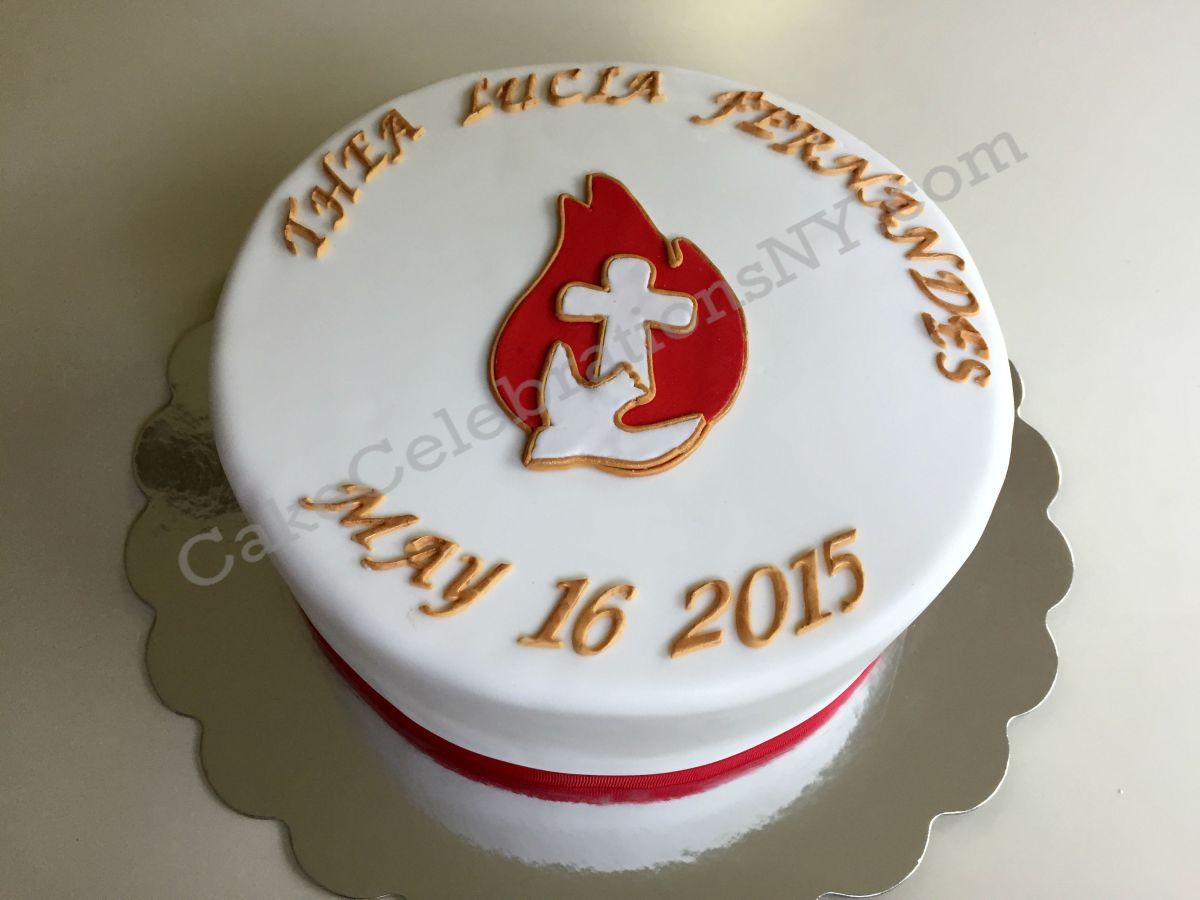 Confirmation Dove Fire Cross Cake