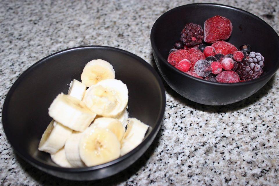Ingredientes - Sorbete de frutos rojos y banana