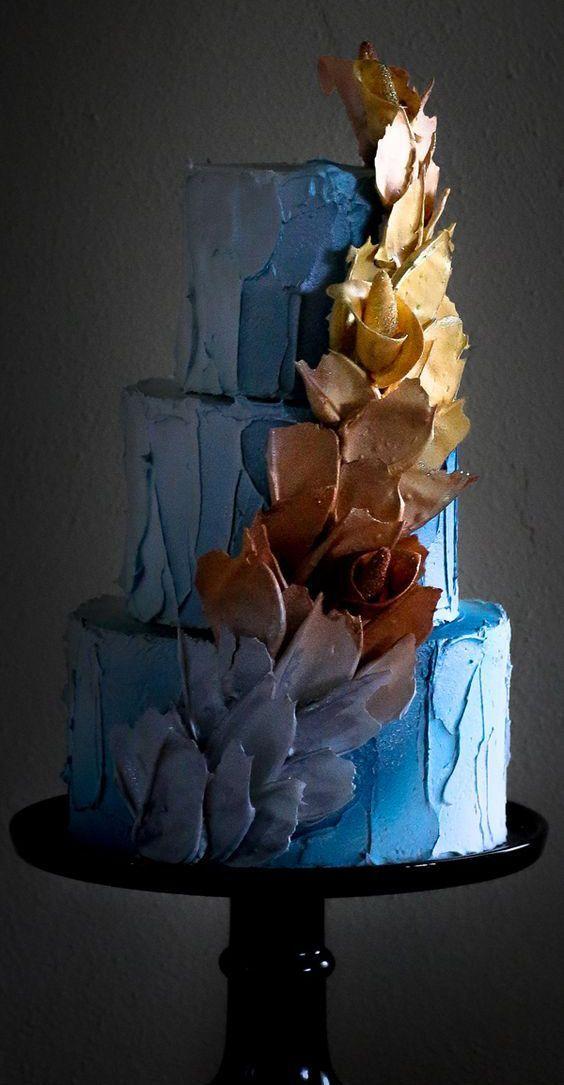 Brushstroke cake para boda