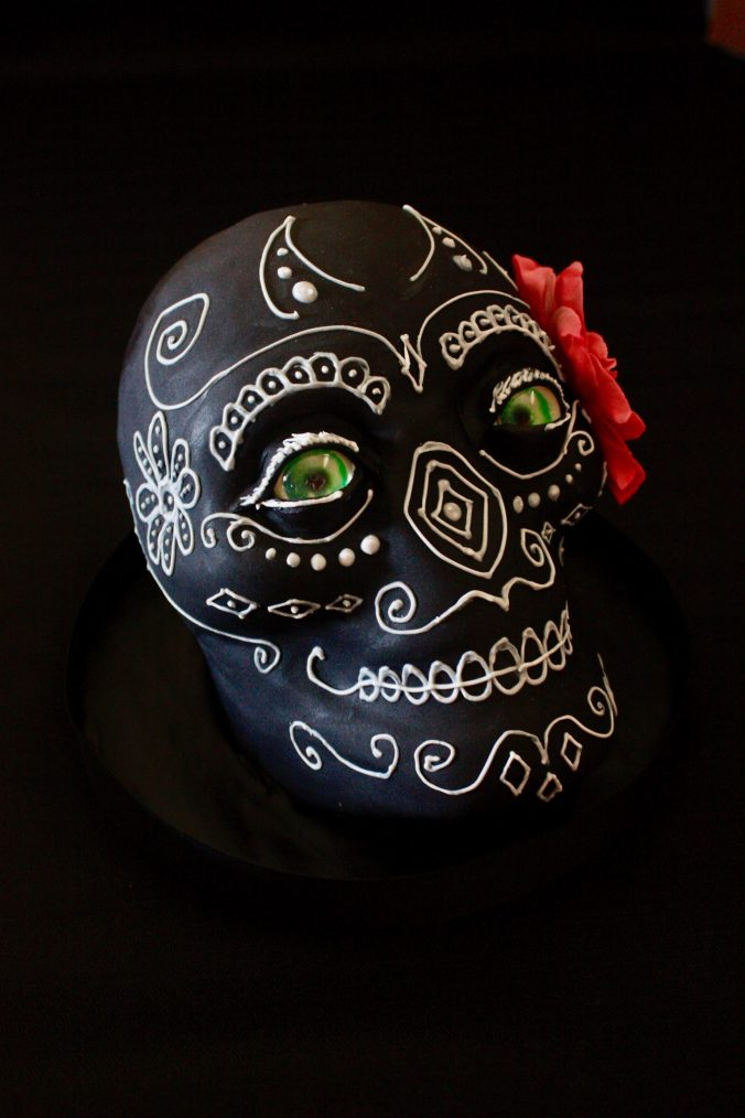 black and white sugar skull cake
